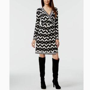 INC International Concepts Chevron Faux Wrap Dress